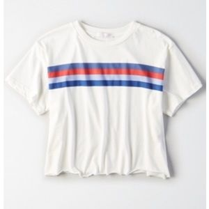 American Eagle Don't Ask Why boxy striped t-shirt